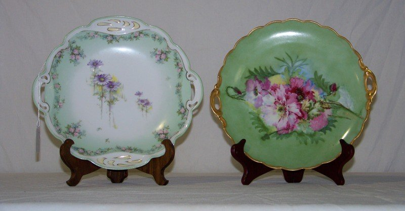4: Pair Vintage Hand Painted Porcelain Handled Plates