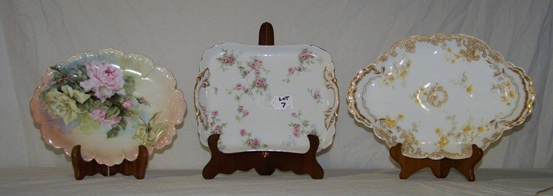 7: 3 Hand Painted Limoges Dresser Trays