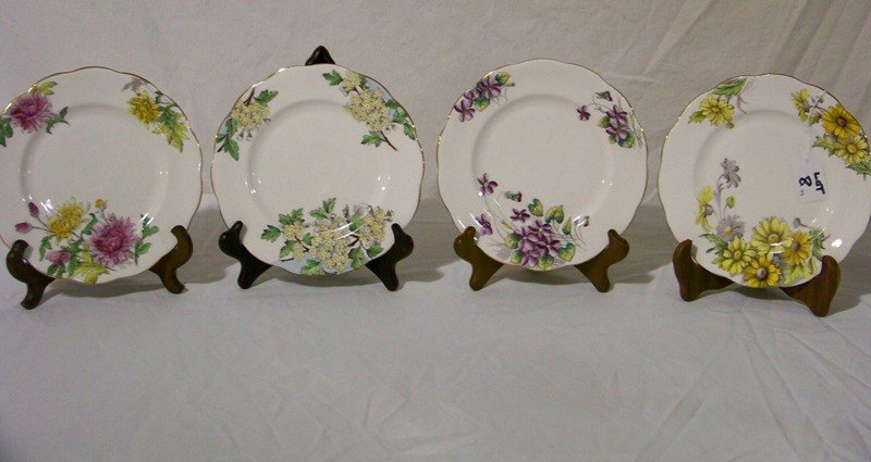 8: 4 Royal Albert England Hand Painted Floral Plates