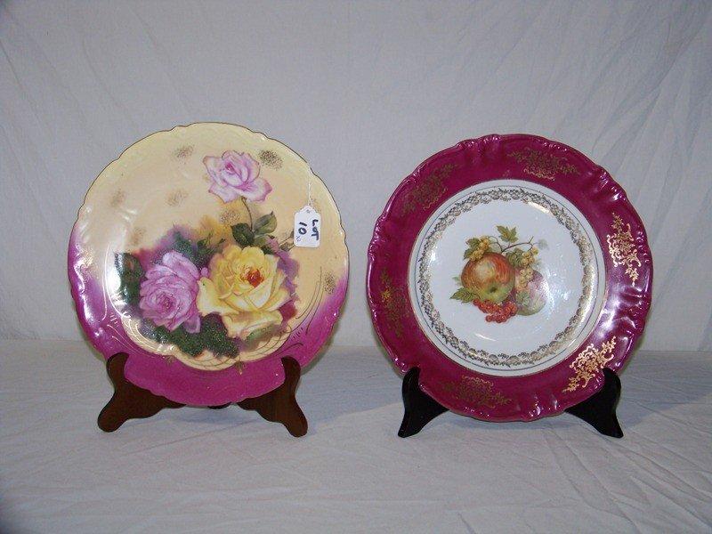 "10: Pair Vintage German 12"" Hand Painted Cabinet Plates"
