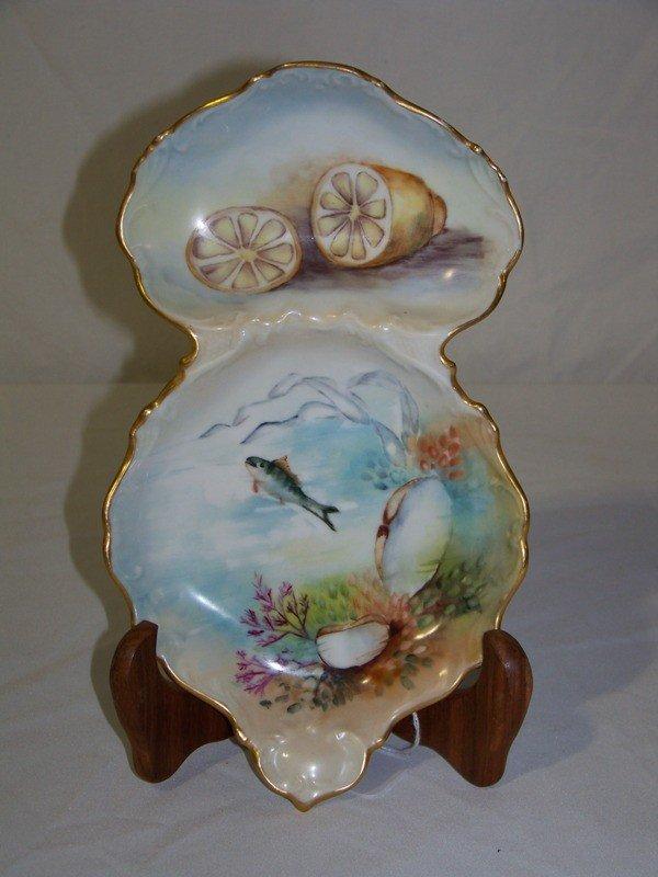 11: Vintage T&V Limoges Divided Hand Painted Fish Plate
