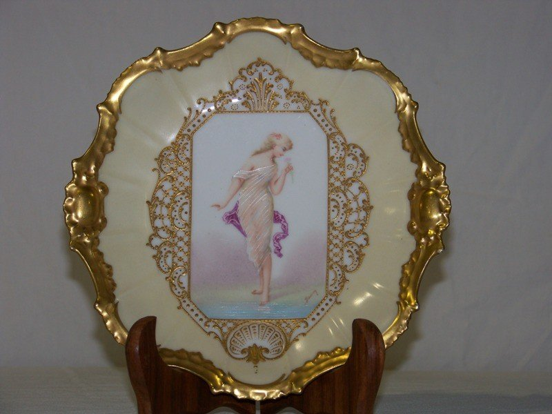 12: Great Early Signed Limoges Portrait Plate of Young