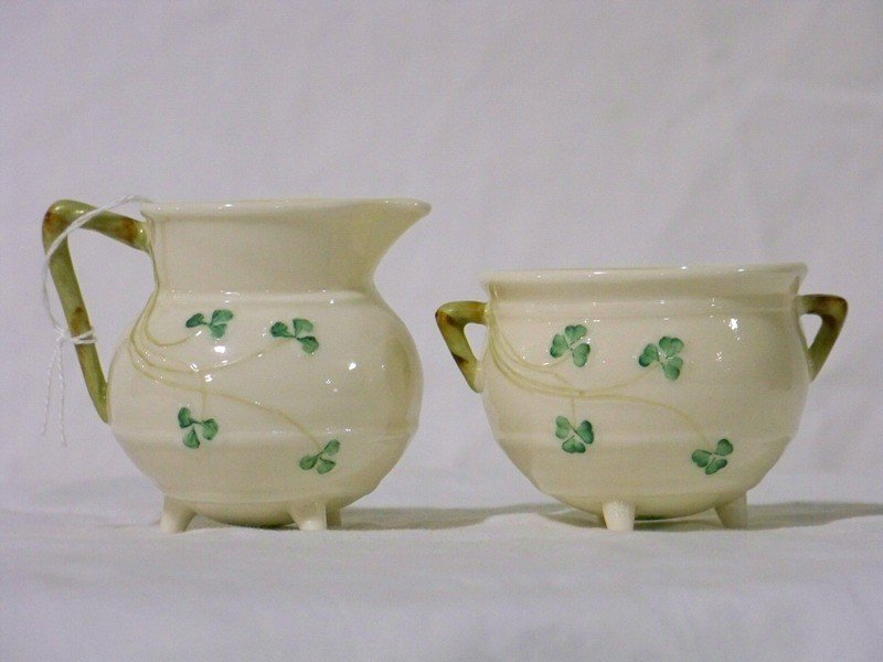 18: Pr Vintage Irish Belleek Handled Cream & Sugar Bowl