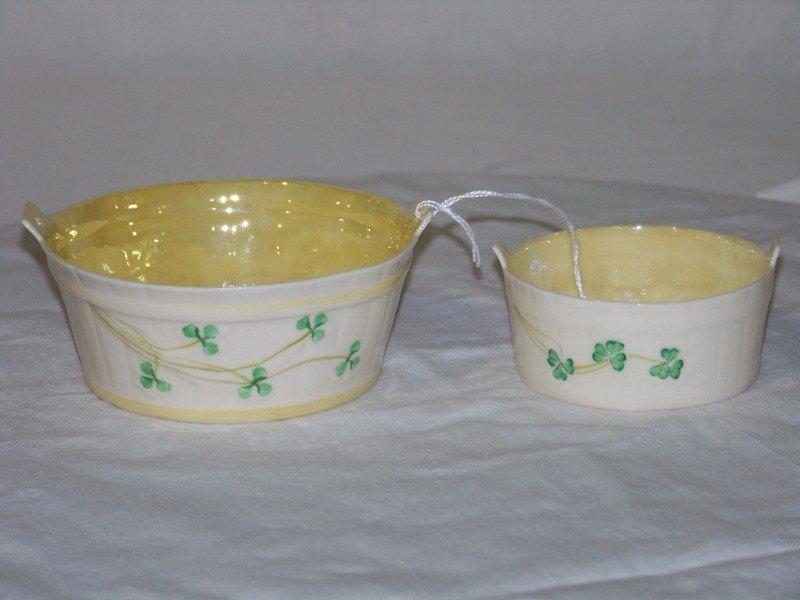 19: Pair Vintage Irish Belleek Handled Wash Buckets