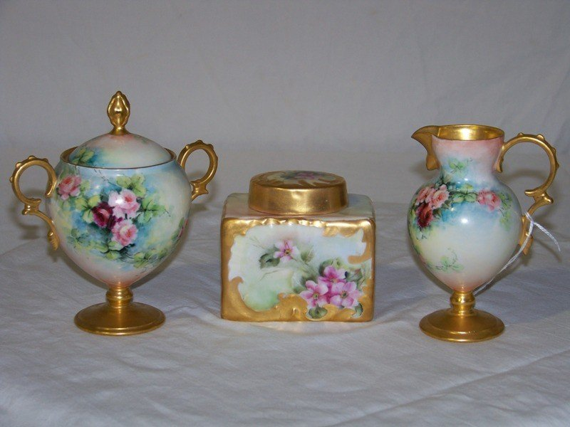 22: Early H. Painted Porcelain Creamer & Sugar & Lidded
