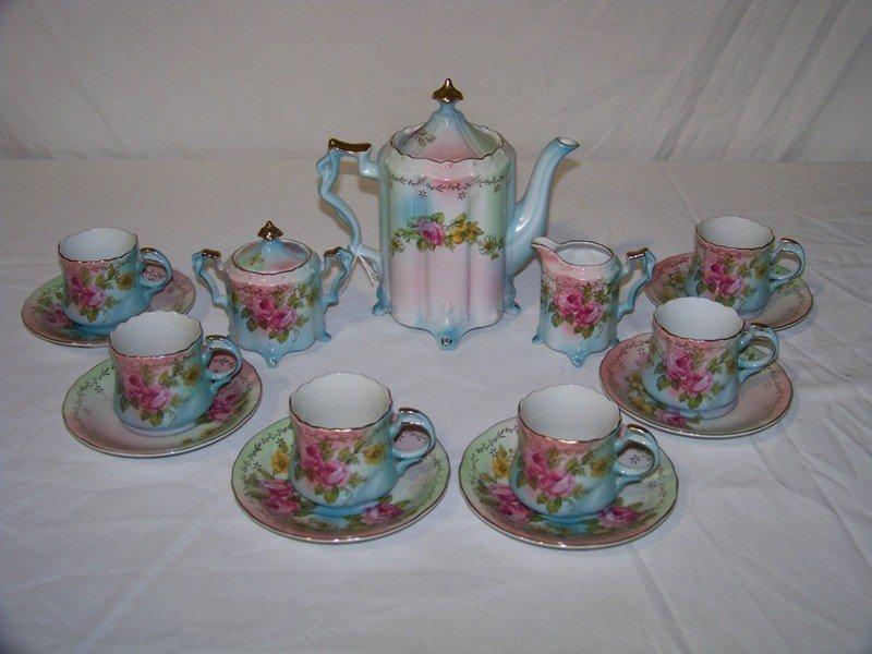 23: R.S.  Prussia Hand Painted Tea Set 17 Pcs.