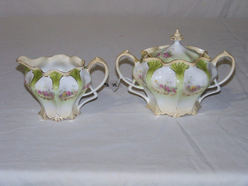 24: RS Prussia Hand Painted Creamer & Sugar