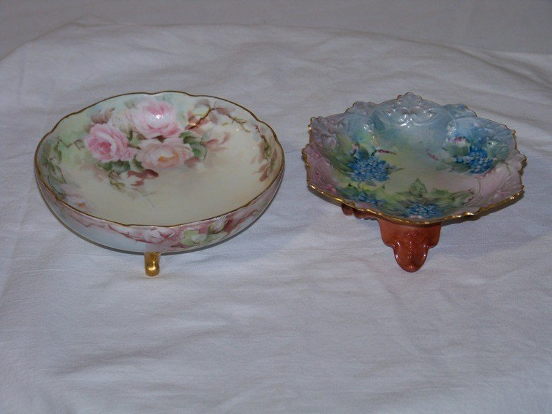 14: Great Pair Of Hand Painted Austrian Footed Bowls