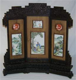 182: Early Chinese Signed 3 Panel  Porcelain Table Scre