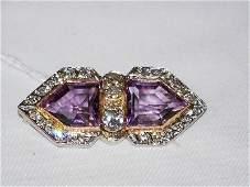 130A Vintage 18kt  Pentagon Diamond  Amethyst Brooch