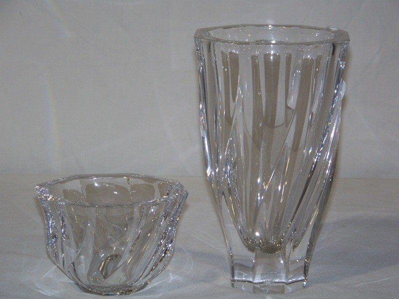 """1: Vintage Orrefors 8"""" Vase & 3 1/2"""" Bowl"""