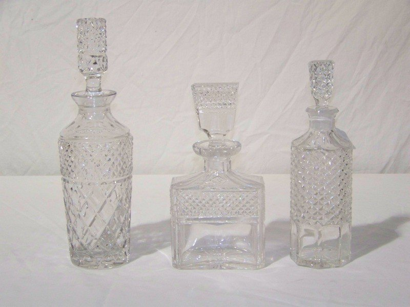 8: 3 Vintage Cut Glass Decanters