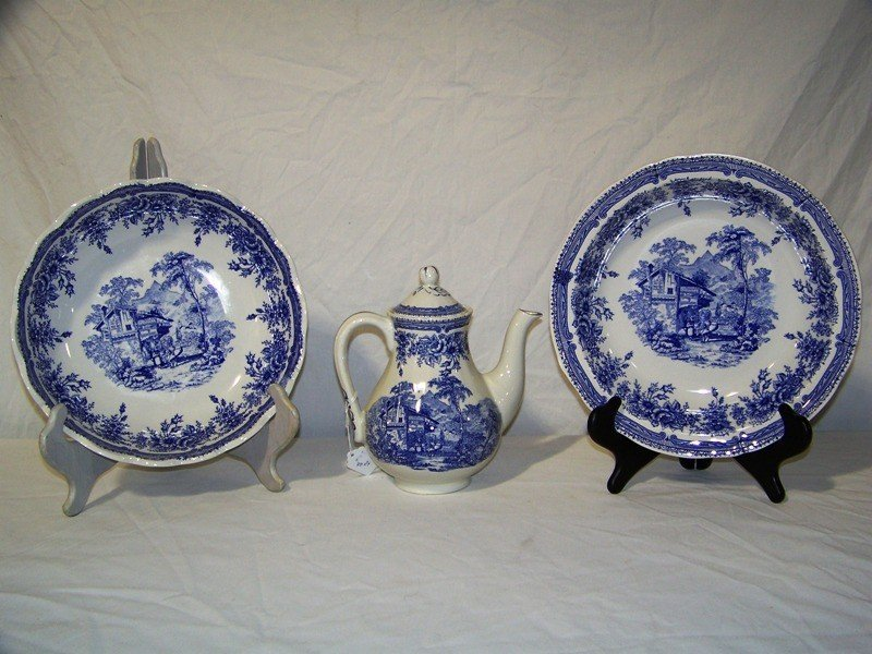 14: 2 Lg. Blue & White Luneville France  Bowls & Pitche