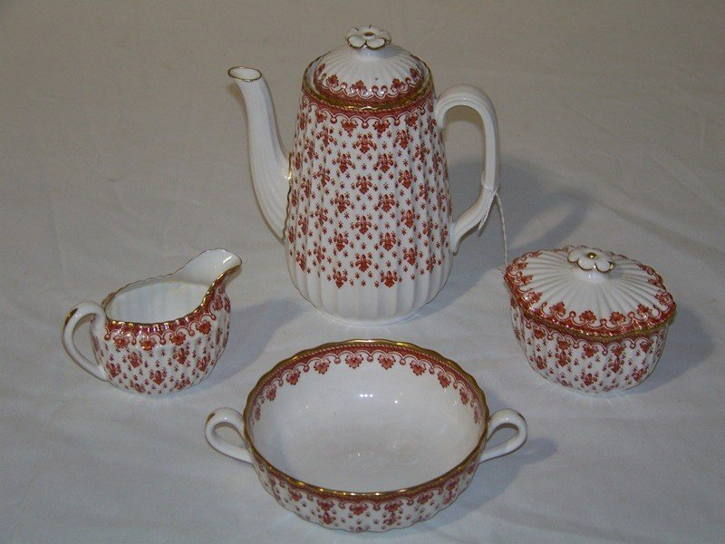 16: 6 Pc. Spode Teapot , Creamer, Sugar & Soup Bowl
