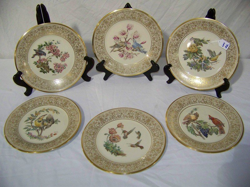 22: 6 Boehm Lenox Gold Gilt Bird Plates