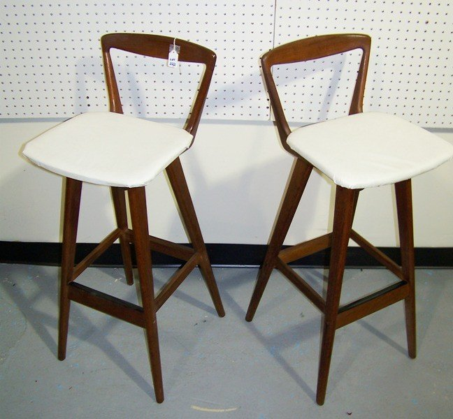 222:Mid C Modern Danish Børge Mogens Teak Bar Stools - 2