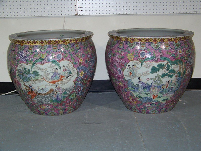 127: Pair Chinese Porcelain Famille Rose Fish Bowls