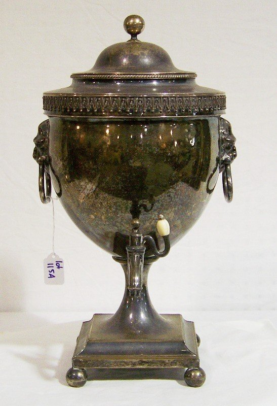115A: Lg. 19th C. Antique Sheffield S/P Hot Water Coffe
