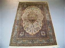 221 Antique Persian Silk Kashan Tree of Life Rug