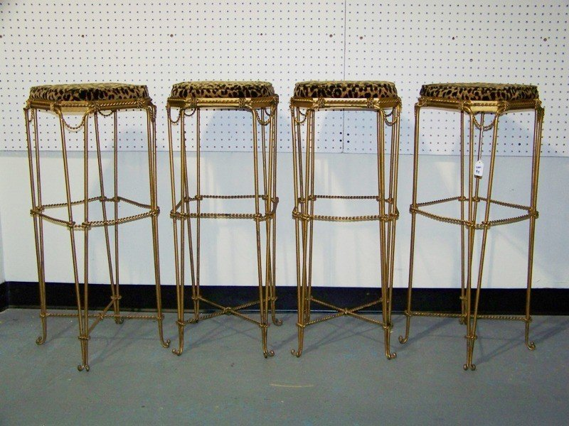153A: Four Early French Gilt Leopard Bar Stools