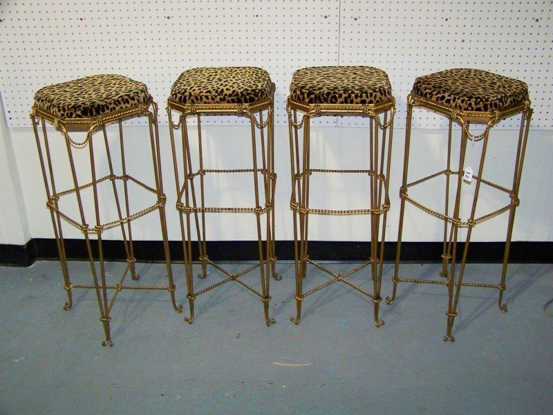 153A: Four Early French Gilt Leopard Bar Stools - 2
