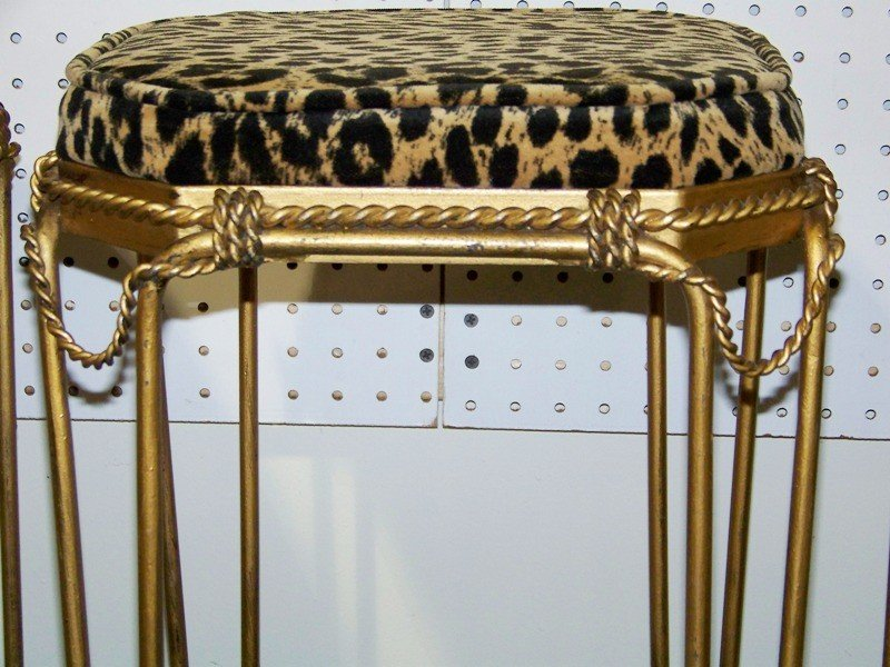 153A: Four Early French Gilt Leopard Bar Stools - 3