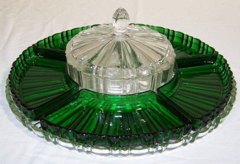 2: 8 Pc.Fostoria Green Glass Condiment Server