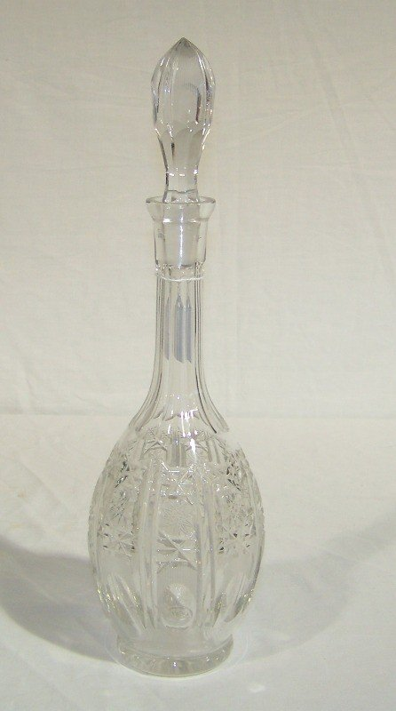 """4: Early Cut Crystal 16"""" Decanter With Stopper."""