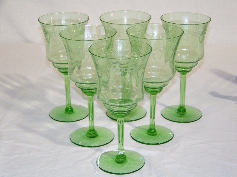 6: 6 Early Cambridge/Fostoria Green Etched Water Goblet