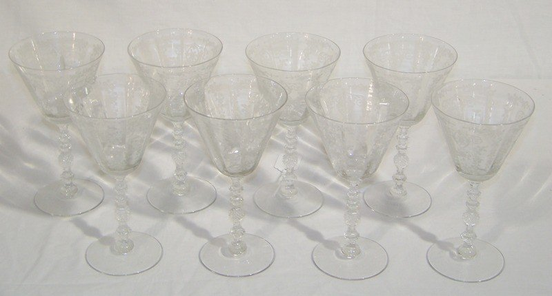 7: 8 Early Cambridge Chantilly Pattern Water Goblets