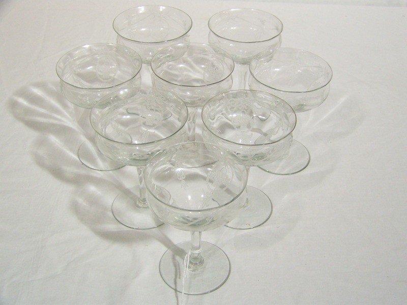 9: 8 Early Fostoria Flower Basket Pattern Goblets