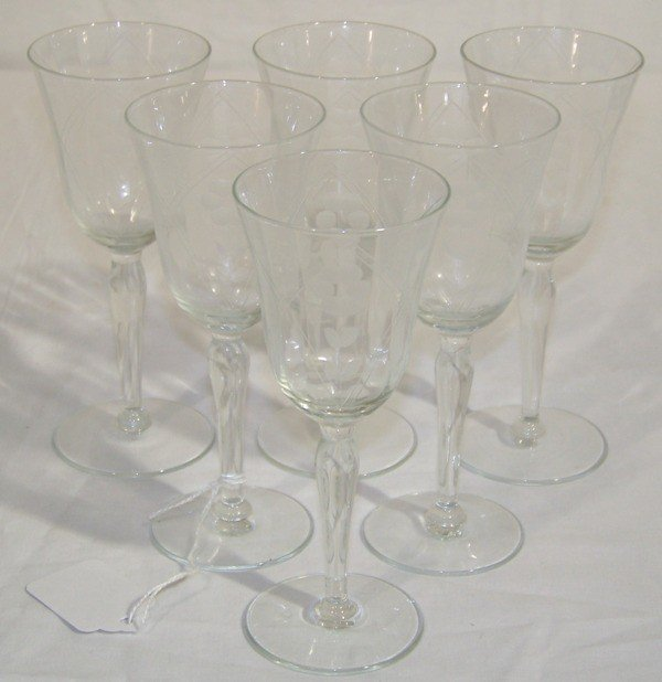 11: 6 Early Etched Floral Brandy Goblets