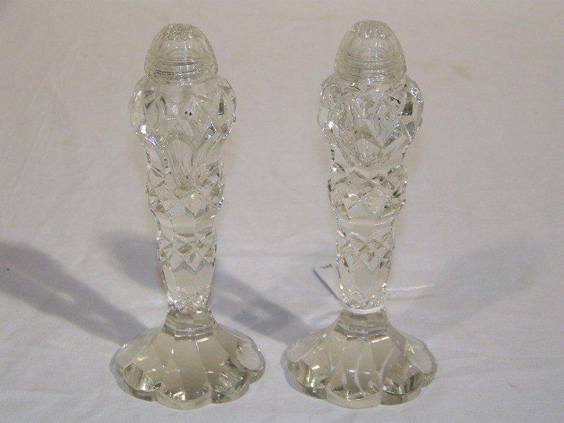 13: Pair of Antique Cut Crystal Salt & Pepper Shakers
