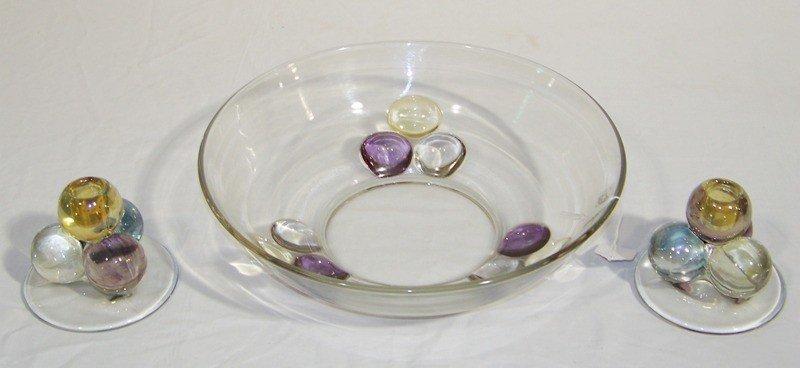 14: 3 Pc.Modern Art Glass Bowl With Matching Candle Sti