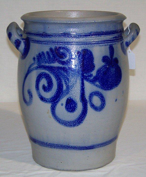 16: H Painted Salt Glazed Stoneware 10 Liter Crock