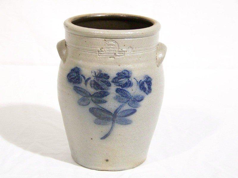 17: Early Salt Glazed Rowe Pottery H. Painted Crock