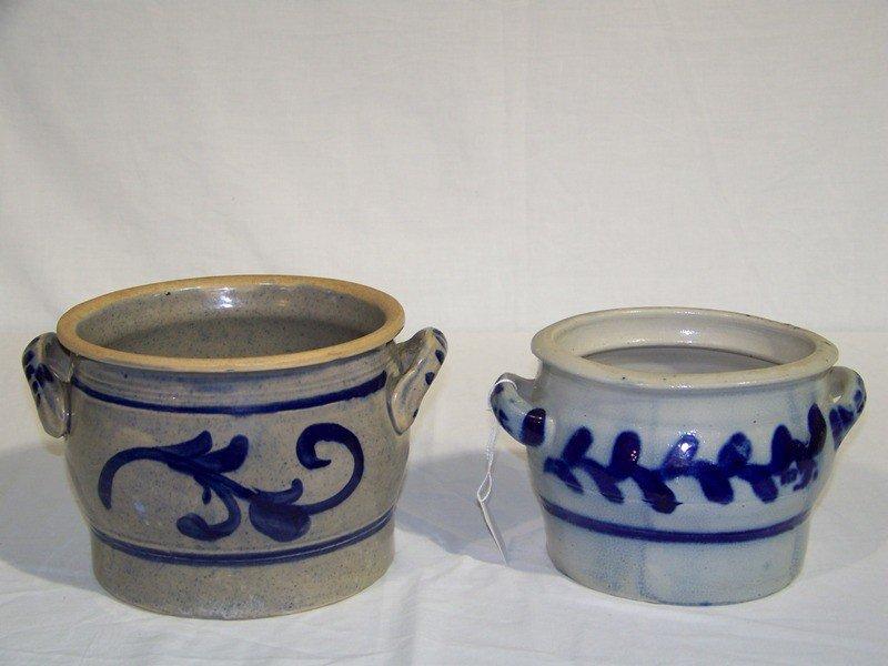 18: Pair Vintage Salt Glazed Crocks