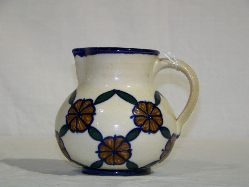 19: Early Gouda Style Hand Painted Water Pitcher
