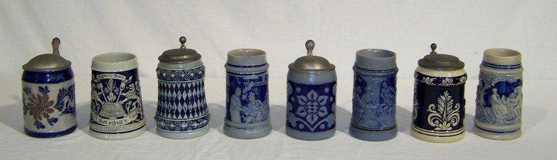 20: 8 Early Salt Glazed Steins and Mugs
