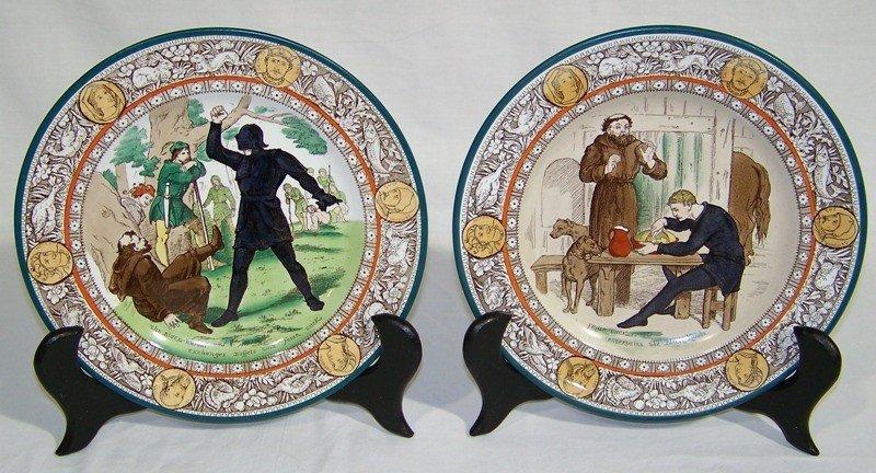 "22: Pair Antique Wedgwood ""Ivanhoe"" Cabinet Plates"