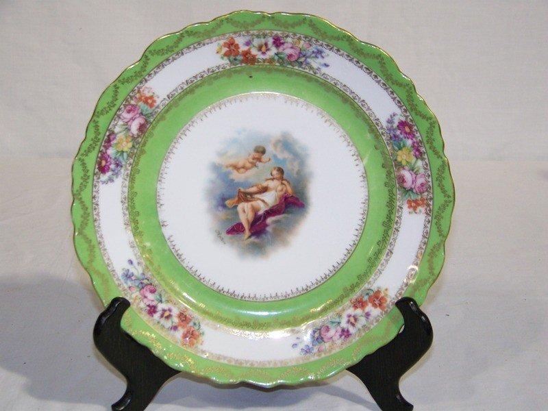 23: Antique Signed Austrian H.Painted Cherub Cabinet Pl
