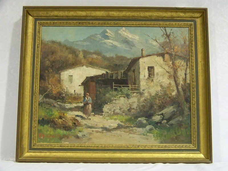 """182: Vintage Signed Oil on Canvas """" Mountains & Figure"""