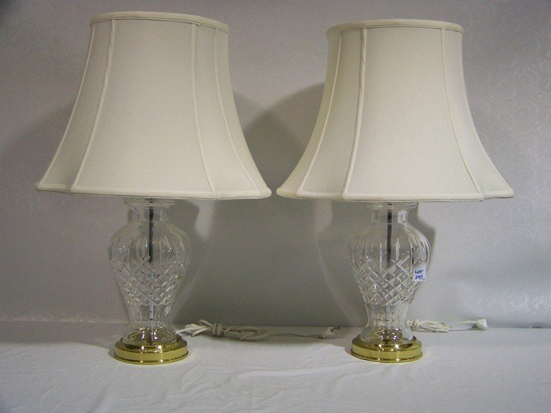 241: Pair of Great Waterford Crystal Araglin Table Lamp - 2