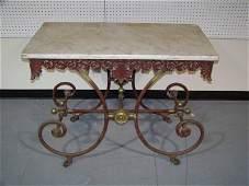 118B 19th Century Ornate Iron  Brass Marble Top Dough