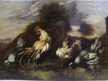 116A: 18/19th Century Continetal School O/C of Roosters