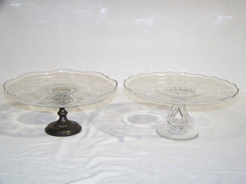 3: Pair Early Cambridge/Fostoria Scalloped Cake Plates