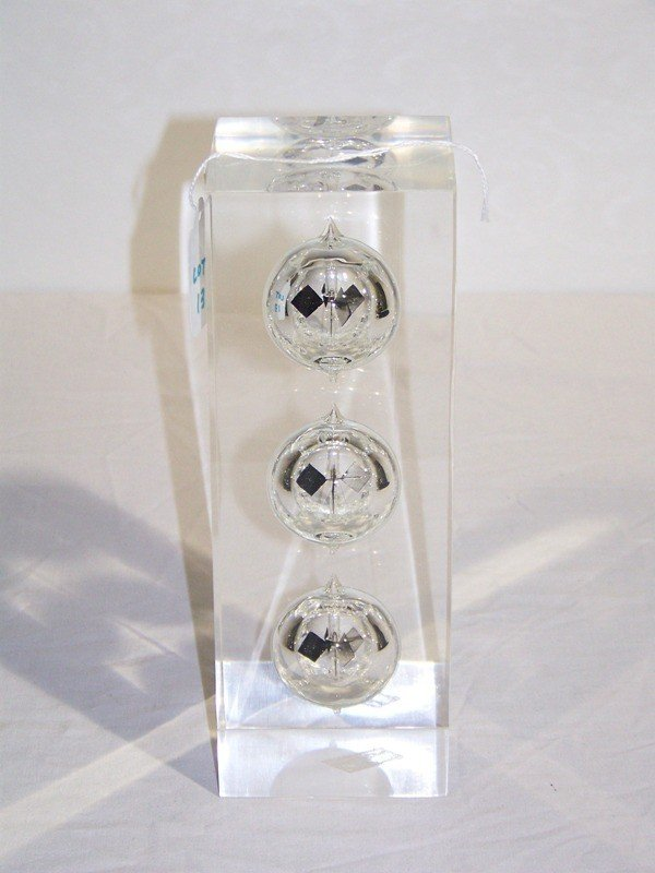 13: Mid C Modern Thick Lucite & Glass Internal Sphere S