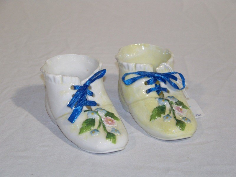 23: Pair of Antique French Porcelain  Shoes