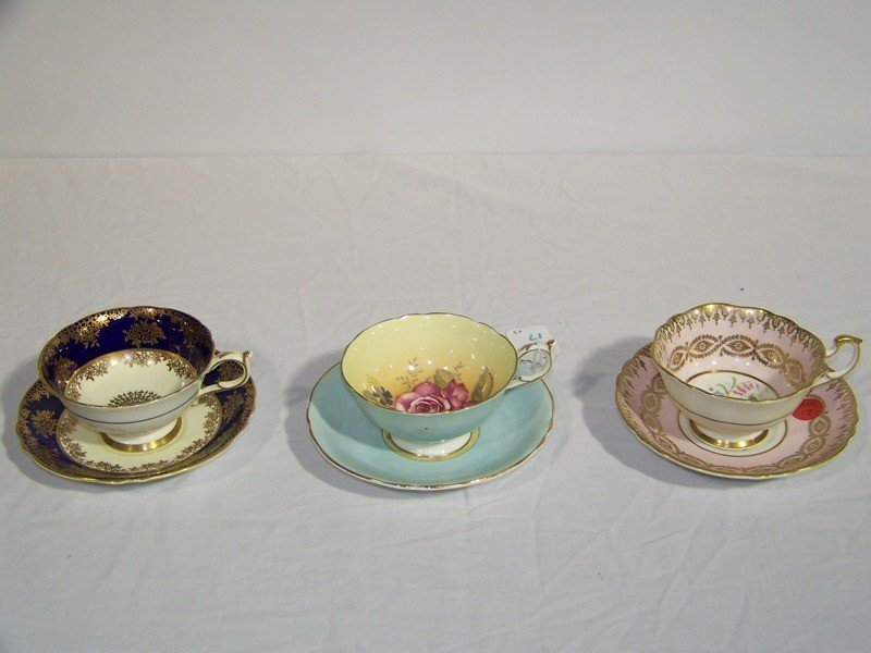 "17: 3 Great "" Paragon "" Hand Painted Cup's & Saucers"