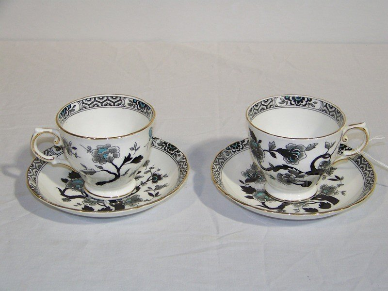 18: Pr of Chinese Hand Painted Tuscan Bone China Cups/S